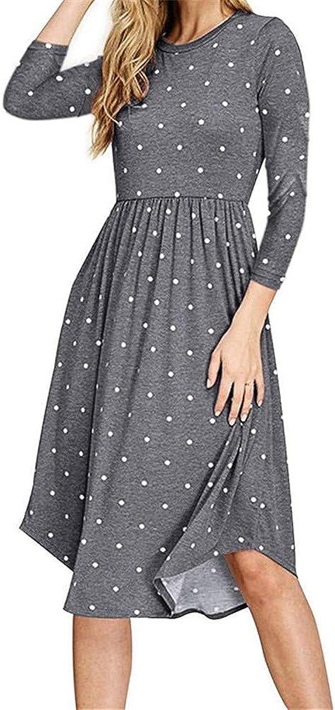niushan Women Summer Casual Polka Dot 3/4 Sleeve Pleated Loose Swing Midi Dress with Pockets