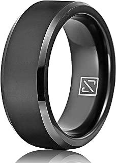 6mm 8mm Silver/Black Tungsten Wedding Band for Men Women Engagement Wedding Band Matte Polished Beveled Edge Comfort Fit Size 7.5-13