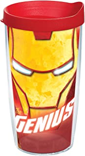 Tervis 1250042 Marvel - Iron Man Tumbler with Wrap and Red Lid 16oz, Clear
