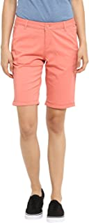 KVL Women's Regular Fit Solid Bermuda Shorts - (Orange)
