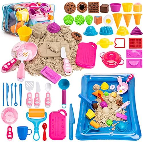 Bikilin's toy Play Sand Ice Cream Kit - 3lbs All-Natural Sensory Sand, Cookware Sand Molds Tools,...