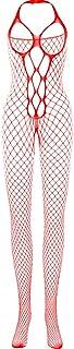 Women's BodyStocking Sexy Lingerie Fishnet Net Red Color Mesh Babydoll Nightwear Bodysuit Underwear