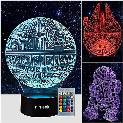 3D LED Star Wars Nachtlicht,Illusion Lampe Todesstern + R2-D2 + Millennium Falcon, drei Muster und 16 Farbwechsel Dekor Lampe - perfekte Geschenke für Kinder und Star Wars Fans -3 Packs…
