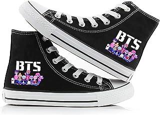 HJJ BTS Classic Canvas Shoes KPOP Fashionable Transpirable Pareja Estilo Hip-Hop Estilo Impresión Casual Top Top Piso Gimn...