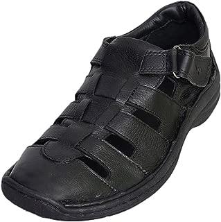 Mardi Gras Men's Black Leather Outdoor Sandals