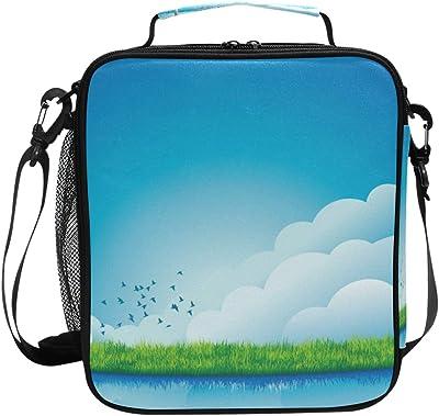 KLL Blue Sky - Bolsa de almuerzo con aislamiento para niños, diseño con correa ajustable