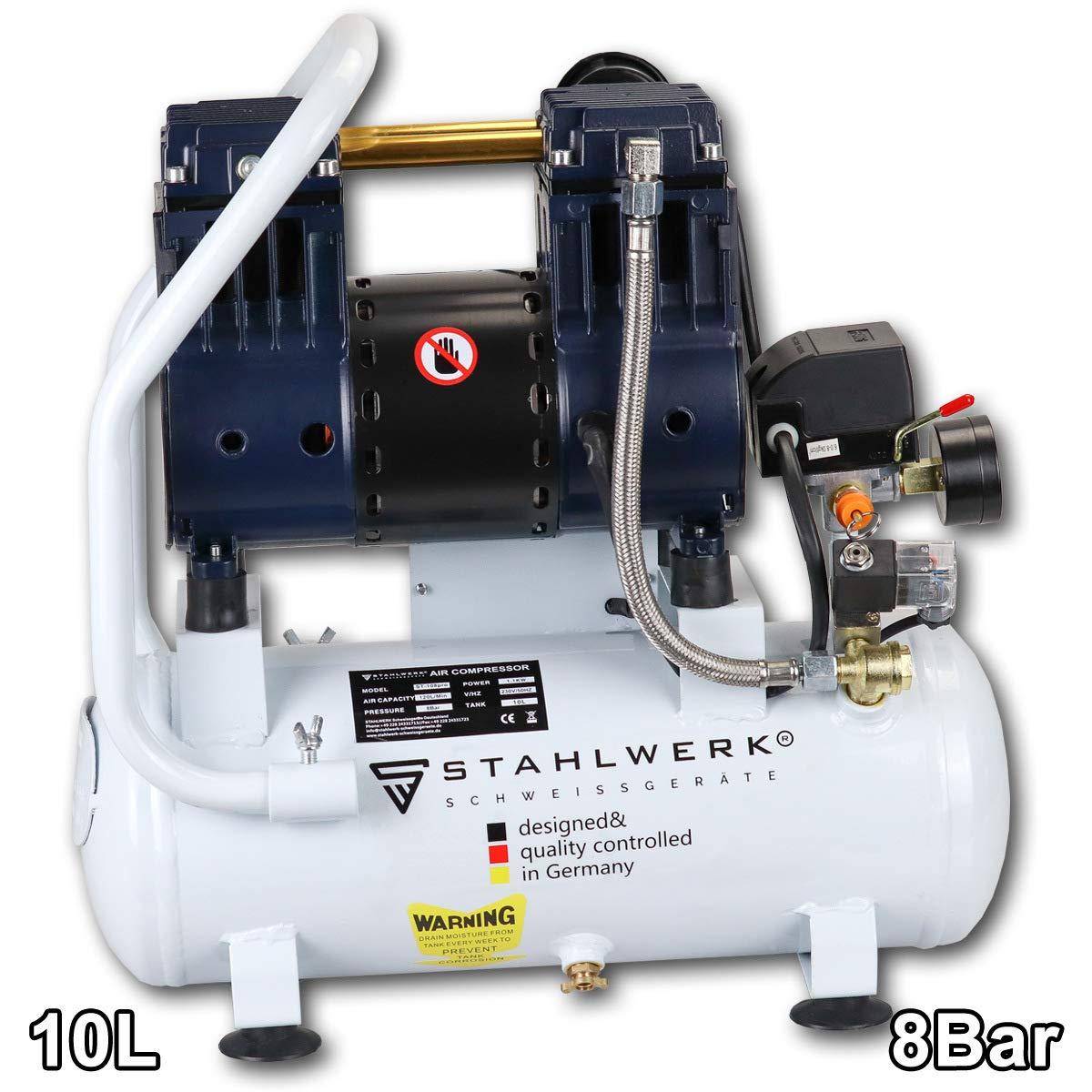 STAHLWERK ST 108 pro - Compresor de aire a presión (10 L, 8 bar, sin aceite, 120 L/min, muy silencioso, muy compacto, 5 años de garantía), color blanco: Amazon.es: Bricolaje y herramientas