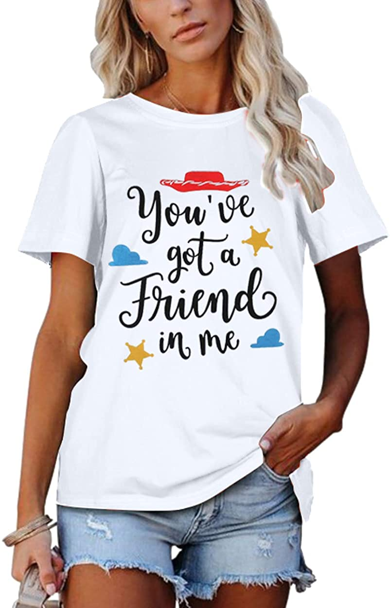 SUPEYA Youve Got A Friend in Me T-Shirt for Women Funny Letter Print Shirt Cute Graphic Short Sleeve Tees Tops