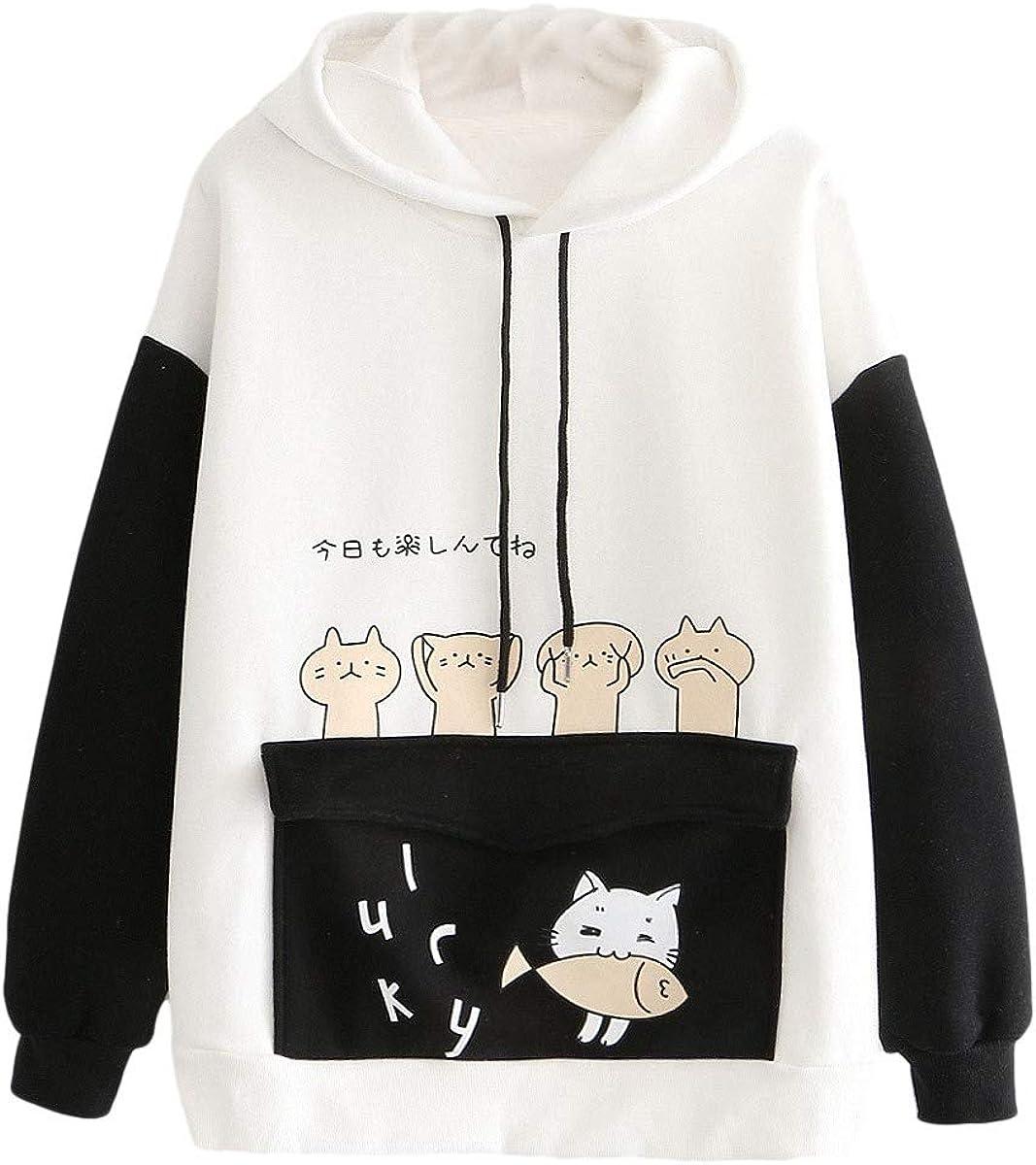 ONHUON Cute Hoodies for Women,Womens Long Sleeve Splice Sweatshirt Tops Cartoon Cute Hoodies Teens Girls Casual Pullover