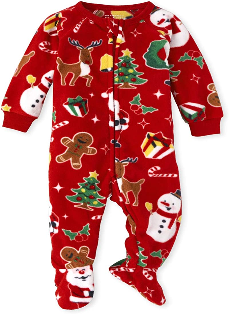 The Childrens Place Boys Unisex Baby and Toddler Matching Family Christmas Fairisle Fleece One Piece Pajamas