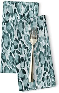 Roostery Animal Print Luxe Cotton Sateen Dinner Napkins Le PARC Hide (Teal) Safari Leopard Cheetah Exotic Faux Linen Textured Nursery Wild Blue Teal by Nouveau Bohemian Set of 2 Dinner Napkins