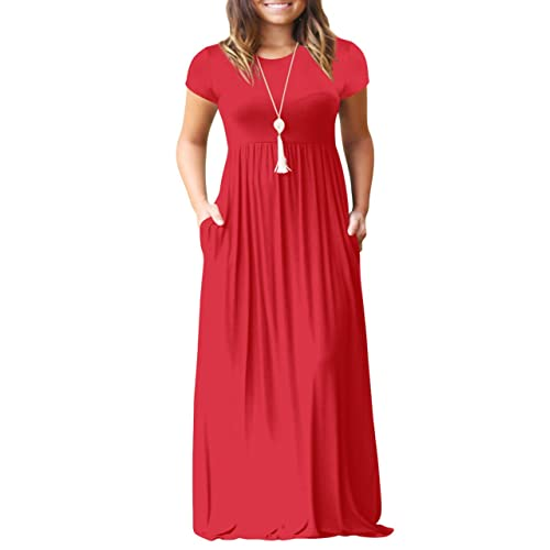 27a26026bc21 Salimdy Womens Solid Plain Round Neck Short Sleeve Long Tunic Maxi Dress  with Pocket
