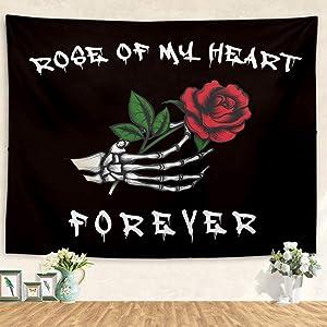Skull Tapestry skeleton tapestry Skull Hands Red Rose Tapestry Black And White Tapestry Wall Hanging for Bedroom Living Room Decor 60x50 inch