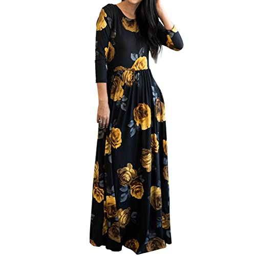 0fcc10389e9b MITILLY Women s Floral Print 3 4 Sleeve Pockets Casual Swing Pleated Long  Maxi Dress