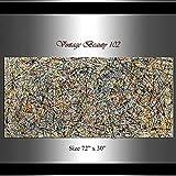 REAHTCY Pinturas Grandes en Jackson Pollock Style, Abstract Art Murales en Lienzo, Pinturas al óleo Grandes en Tonos Retro Lux Amarillo y Gris, (Size (Inch) : 70x70cm)
