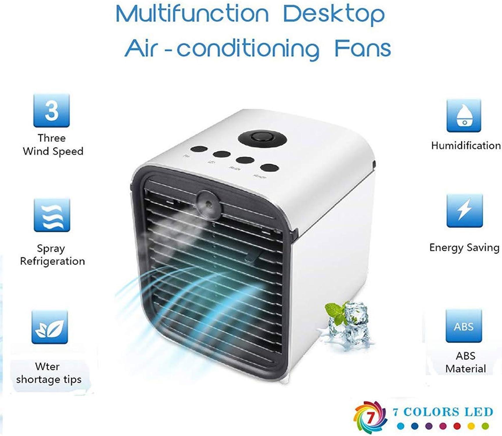 ALEILLA Mini Aire Acondicionado portátil 3 en 1 Prueba de Fugas Enfriador de Aire de Escritorio Humidificador Purificador con Luces LED de 7 Colors 3 velocidades