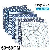 7ピース/セットDIYアソートパターンフローラルプリントパッチワークコットン生地布縫製キルティングクロス500x500mm