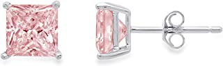 2.9ct Brilliant Princess Cut Solitaire Highest Quality Pink Simulated Diamond CZ Unisex Anniversary Gift Stud Earrings Solid 14k White Gold Push Back Clara Pucci conflict free Jewelry