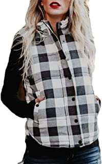 Womens Lightweight Buffalo Plaid Jacket Vest Hooded Sleeveless Anoraks Sherpa Winter Coat Cardigan