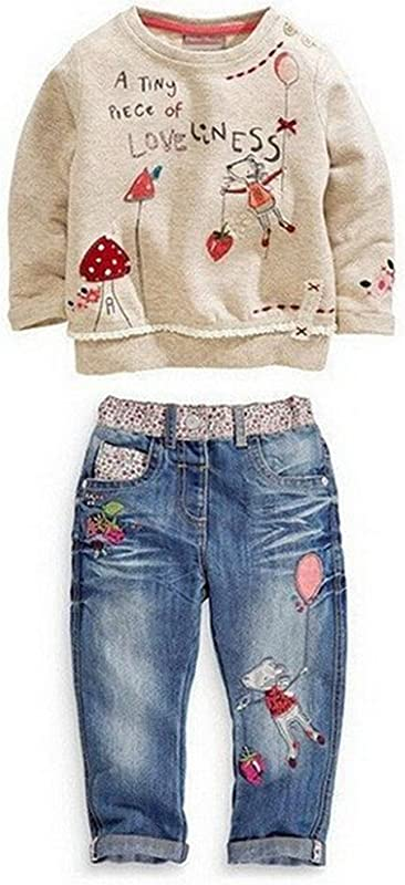 Kids Baby Girl Children Floral Long T Shirt Top Jean Pants Set Outfit