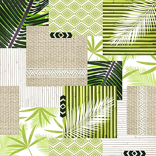 Toile cirée au mètre - Largeur 140 cm - Bambou et Feuille de Palmier - Vert