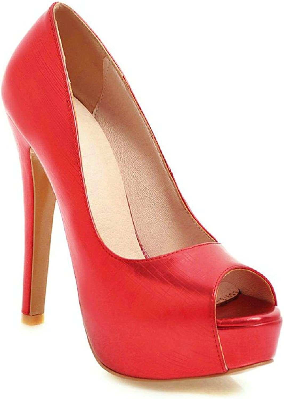 An Meng Xin Ling Peep Toe Heels Women Platform Leather High Heel Slip On Stilettos Sexy Red Wedding Bride shoes Dress Comfort Plus Size