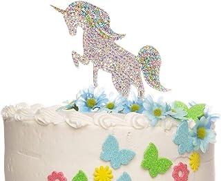 Ella Celebration Rainbow Unicorn Rhinestone Cake Topper Unicorn Cake Decorations for Birthday, Baby Shower, Events (Silver)