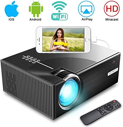 $92 Get Video Projector, iBosi Cheng LED Home Mini Projector HD 1080P Projector, Wireless Smart WiFi Projector, 2800 lux, Multimedia Projector with HDMI USB VGA Port, Support for Apple Laptop Smartphone