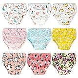 Lot de 9 Pantalons D'entraînement pour Pot pour Bébé,sous-Vêtements pour Bébé pour Garçon et Fille,sous-Vêtements D'entraînement pour Enfants Couches Anti-Fuites 3 Ans