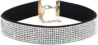 Women Diamond Choker Necklaces Black Velvet Choker Pendant Necklaces Jewlery for Party Dating Wedding Wear