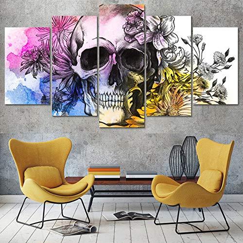 SMXSSJT Cinco Cuadros Consecutivos Calavera De Flores HD Impreso Pintura Modern Canvas Living Room Pictures Decoración para El Hogar Poster.20X35Cm*2/25X45Cm*2/20X55Cm*1(Sin Marco)