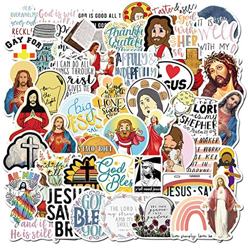 Jesus Christian Stickers 50pcs for Water Bottles, Jesus Faith Stickers Pack with Bible Verse Motivational Stickers, Inspirational Stickers for Women Teenagers (Jesus Christian)