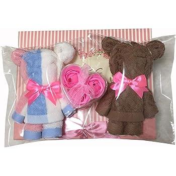 minimumkobe(ミニマム神戸)タオル ギフトセット ウォッシュタオル タオルハンカチ 結婚式 誕生日 お礼 タオルベア くま 薔薇の石鹸 ギフトボックス入り (マルチ)