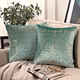 Phantoscope Pack of 2 Bronzing Velvet Decorative Throw Pillow Covers Soft Solid Square Throw Pillow Covers Cushion Cover Pillowcase for Couch Bed and Chair, Turquoise 20 x 20 inches 50 x 50 cm