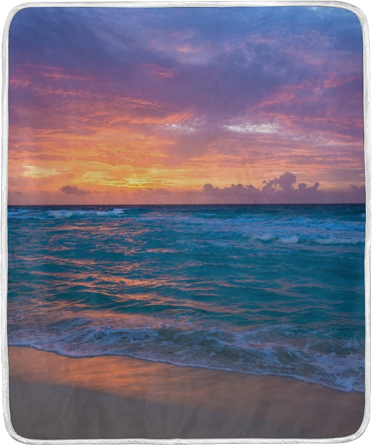 ALIREA Sea Sunrise Super Soft Warm Blanket Lightweight Throw Blankets for Bed Couch Sofa Travelling Camping 60 x 50 Inch for Kids Boys Girls