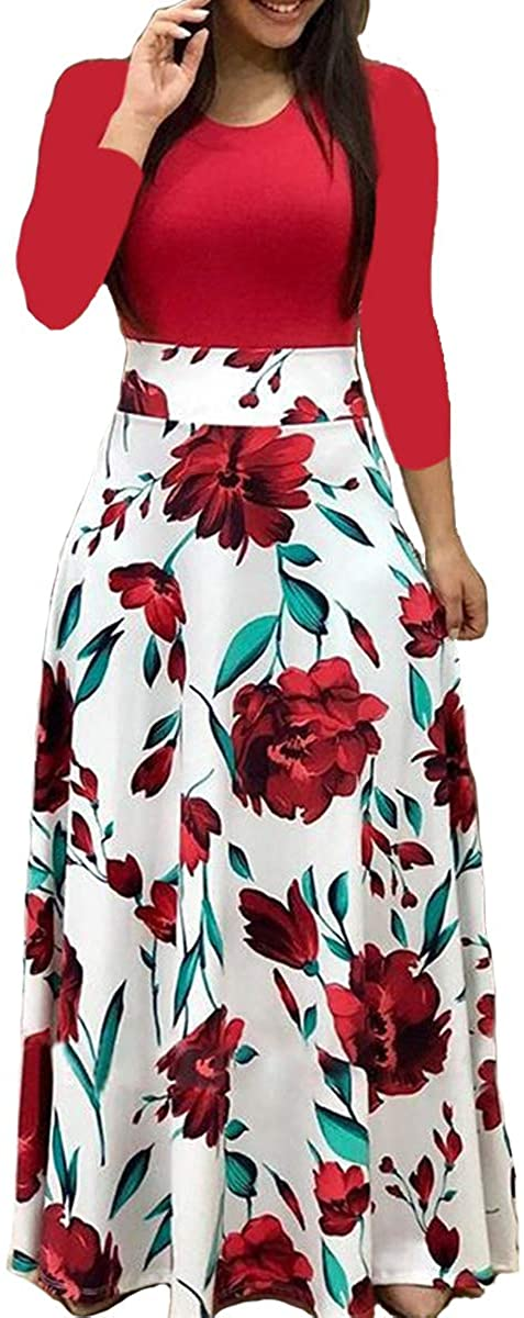 Aublary Womens Long Sleeve Maxi Dress Round Neck Floral Print Ca