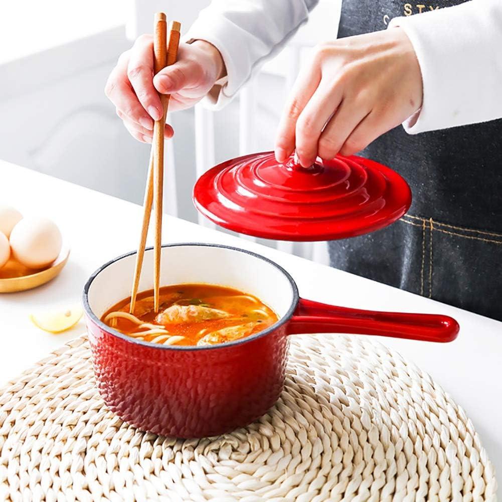 Casserole À Lait Avec Émail Antiadhésif Casserole De Lait Thé Café Oeuf Bouillante Pot Grande Capacité Avec Couvercle cadeau (Couleur : Rouge) Rouge