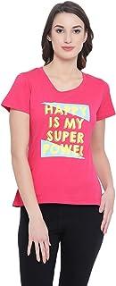 Clovia Women's Cotton Rich Text Print T-Shirt