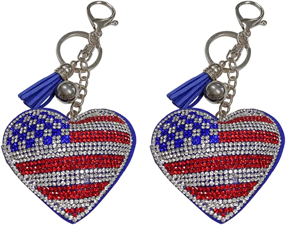 NUOBESTY American Flag Keychains Glitter Heart Keyrings USA Key Holder Patriotic Accessory - Souvenir Gifts - 2 pieces