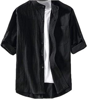 MogogNMen Casual Pocket 3/4 Sleeve Stand Collar Pure Color Oversize Dress Shirt