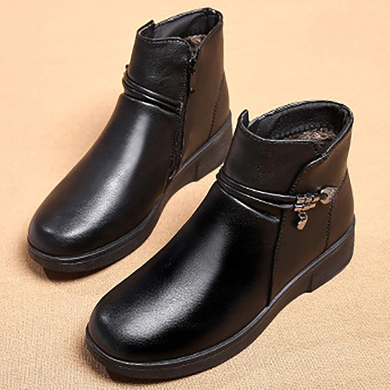 Cotton shoes Female Winter Plus Velvet Cotton Boots Snow Boots, Warm Women's Boots, Middle-Aged Mother shoes,Black,40