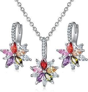 e69c570a42ba CARSINEL Flor Pendientes Colgante Collar Zirconia cúbica Conjunto de Joyas  de para Mujeres