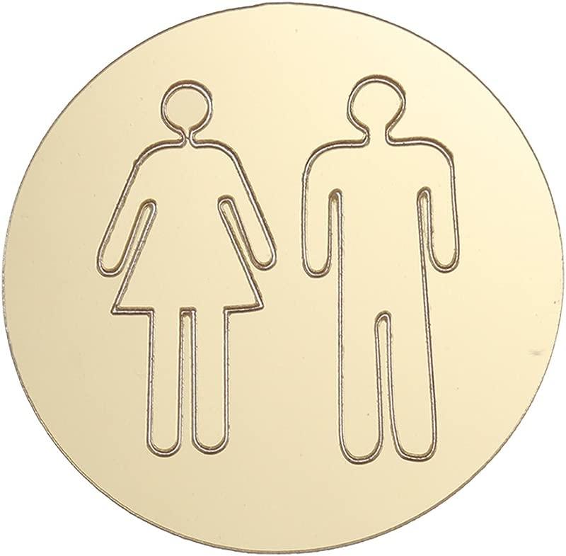 VORCOOL Removable 3D Mirror Public Toilet Restroom Sign Men Women Wall Art Stickers For Bar School Gold
