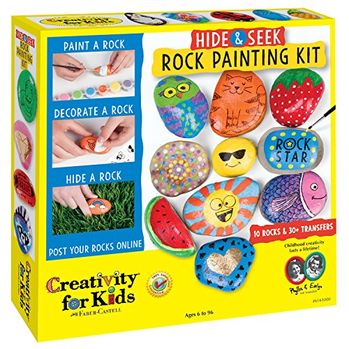 Creativity for Kids Hide and Seek Rock Painting Kit - Spread Kindness and Customize 10 Rocks
