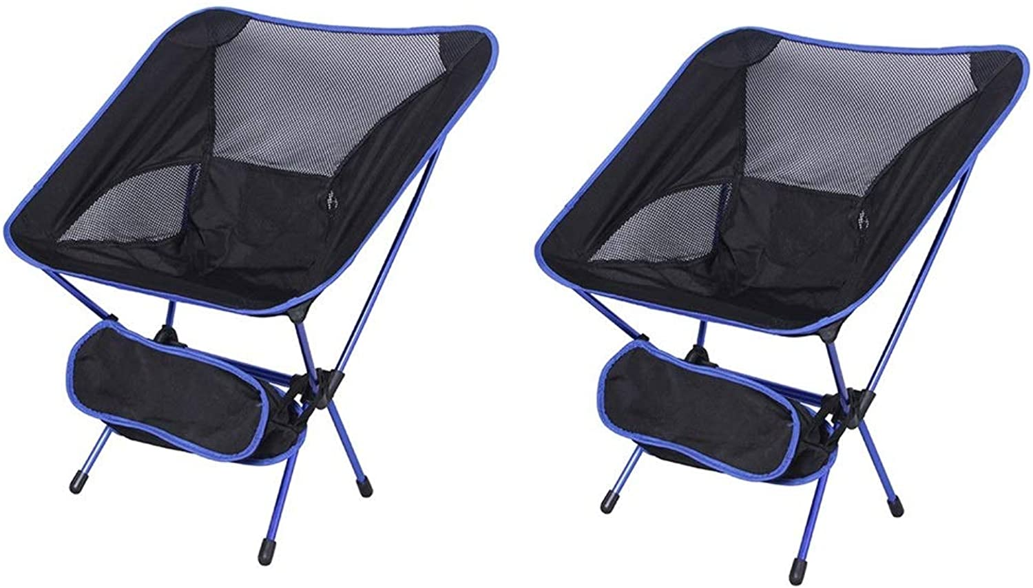 Ultralight Folding Camping Backpacking Chair Portable Compact and Heavy Duty Outdoor Camping BBQ Beach Travel Picnic Festival with 1 Storage Carry Bag (color   2 Pcs bluee)