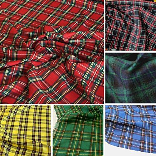 TOLKO 50cm Modestoff/Dekostoff kariert | Tartan Schotten-Karo Stoff | Schottland Klassiker zum Nähen und Dekorieren | Blickdicht, knitterarm | 150cm breit - Meterware (Rot)