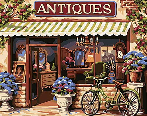 ABEUTY DIY Paint by Numbers for Adults Beginner - Bicycle in Frant of Store 16x20 inches Number Painting Anti Stress Toys (Wooden Framed)
