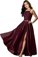 Lily Wedding Womens Halter 2 Piece Prom Dress Long Satin Evening Gown With Slit