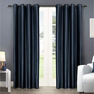 Exclusive Home Chatra Faux Silk Window Curtain Panel Pair with Grommet Top, Indigo, 54x108, 2 Piece