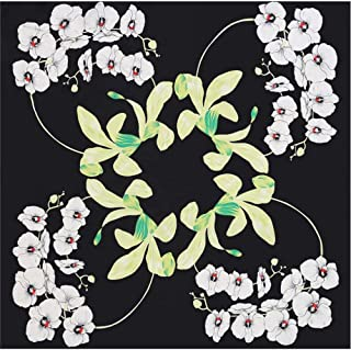 Happy-L Small Square Towel New Ladies Scarf 70cm Scarf Printing Decorative Scarf Elegant Bouquet Printing Scarf Outdoor Sunscreen Shawl (Color : Black)